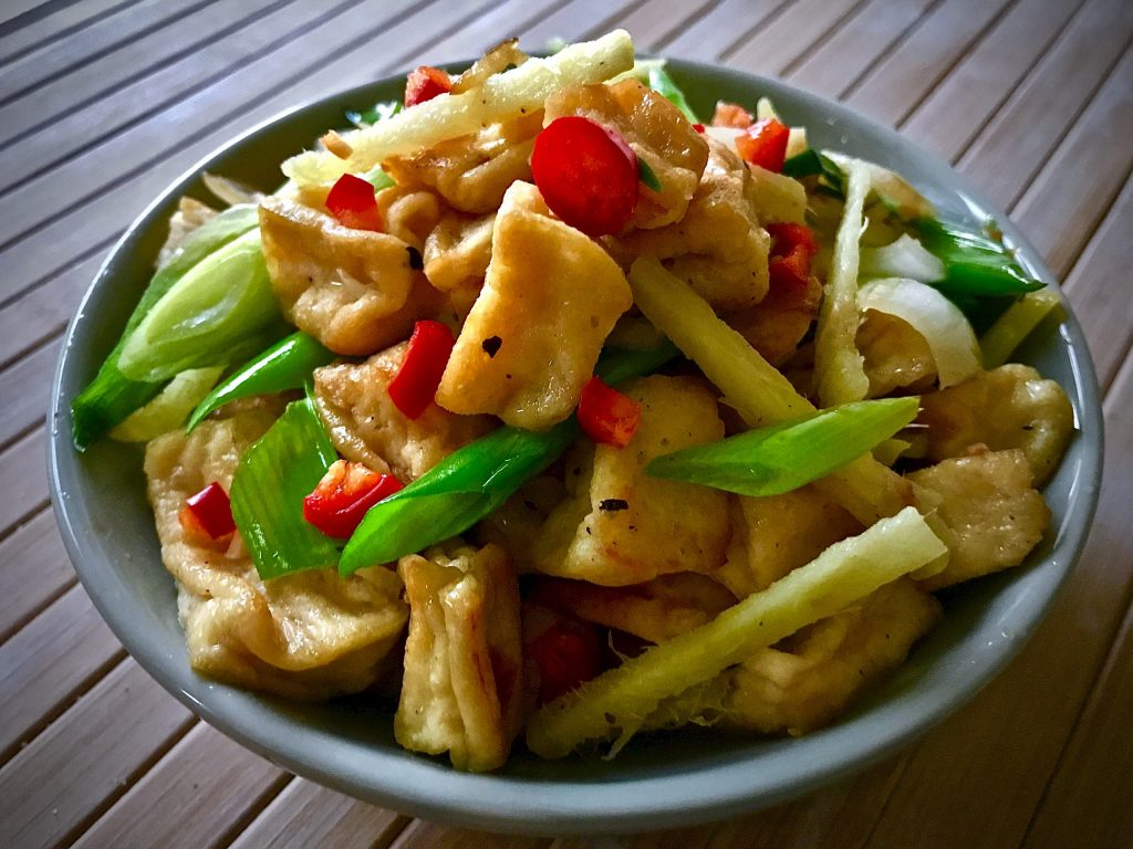 Tofu with Ginger and Spring Onion