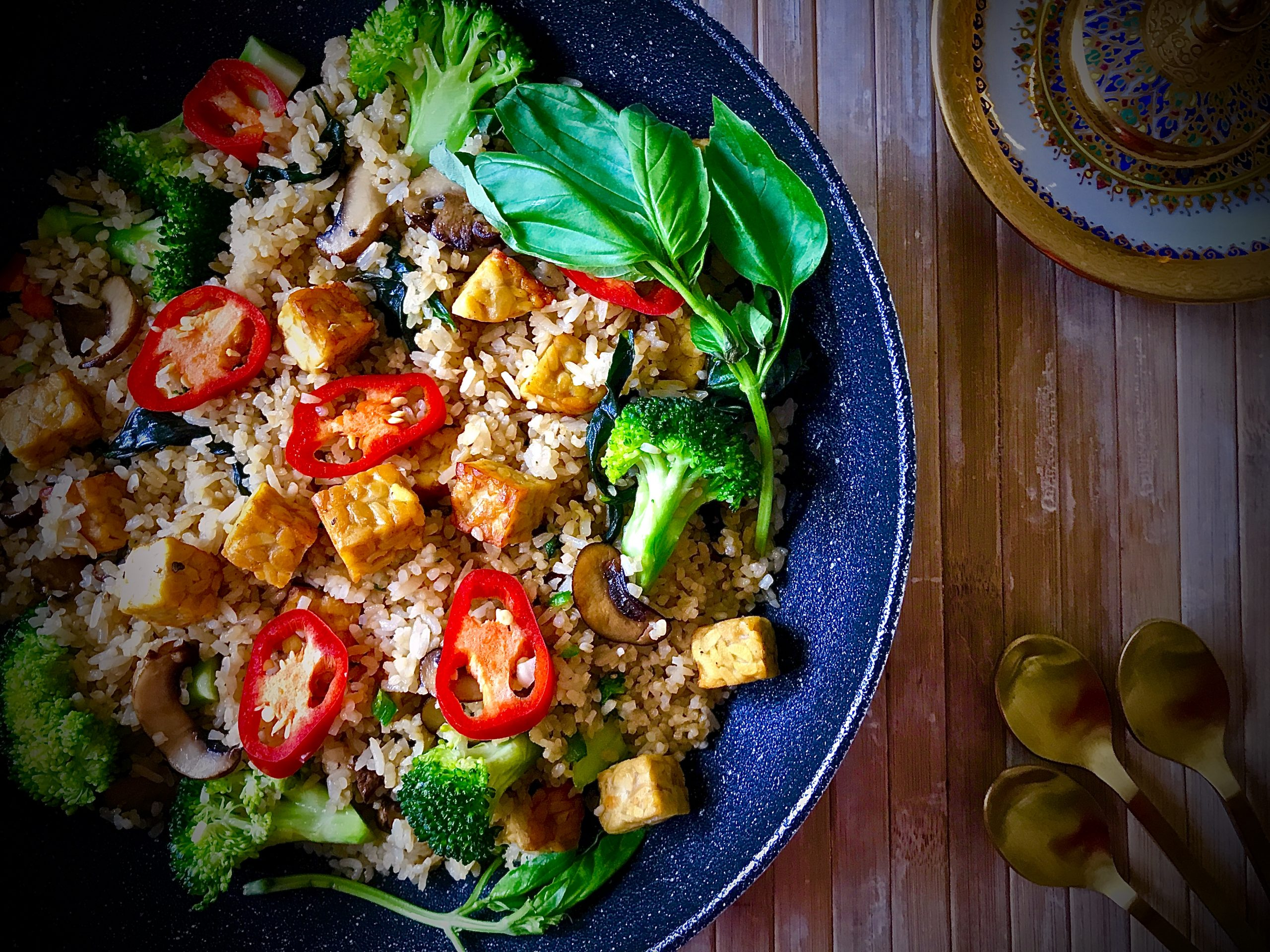 Kra Pow Fried Rice (Vegan)