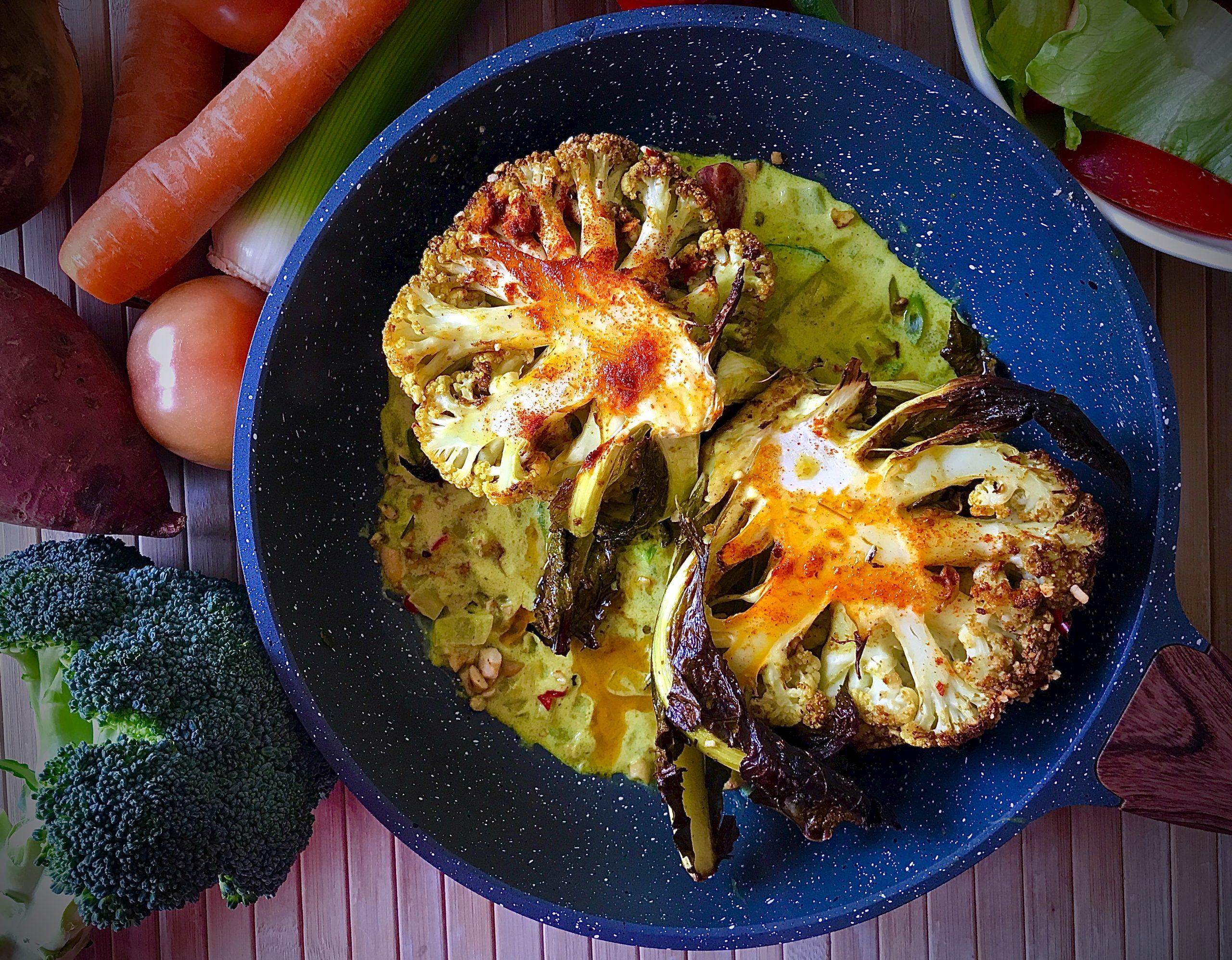 Roast Cauliflower in Curry Sauce (Vegan)