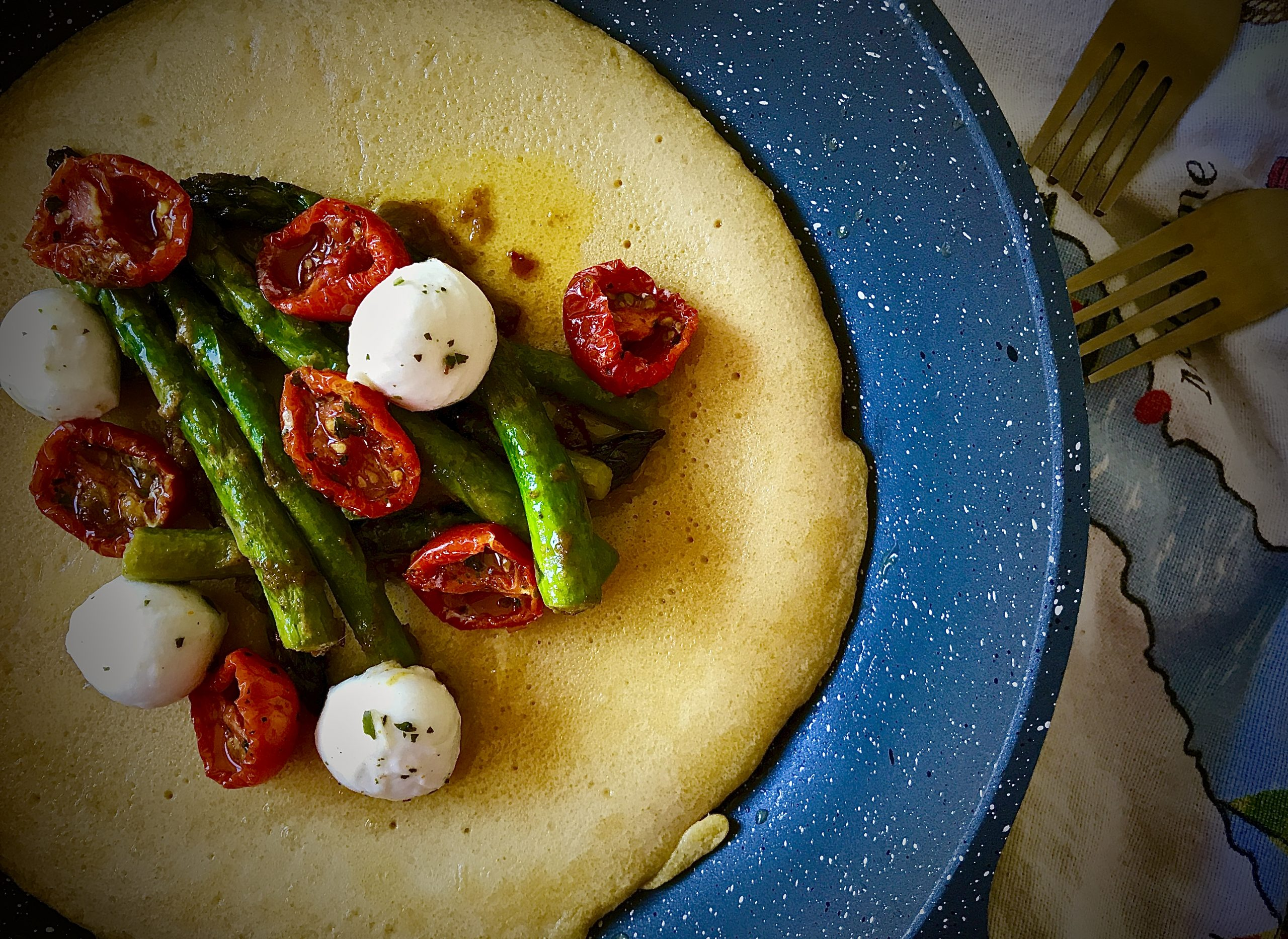 Socca with Asparagus Rendang