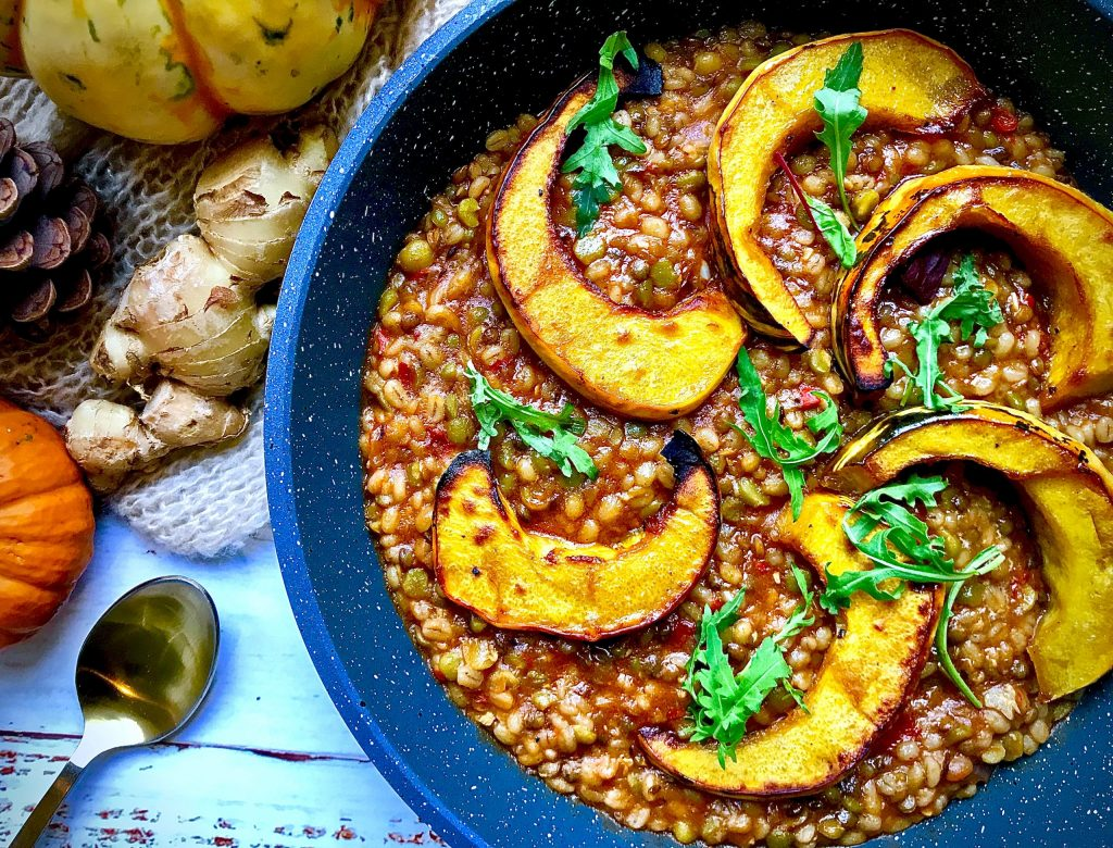 Roasted Squash on Spiced Barley Risotto